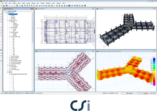 CSI SAFE offers interface to perform: Modeling, Analysis, Design, Detailing and Reporting